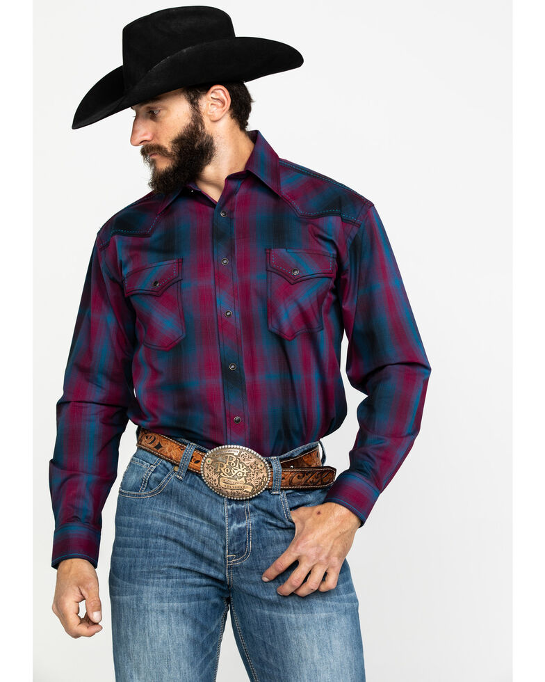 Rough Stock by Panhandle Men's Stonecreek Ombre Plaid Long Sleeve Western Shirt , Wine, hi-res