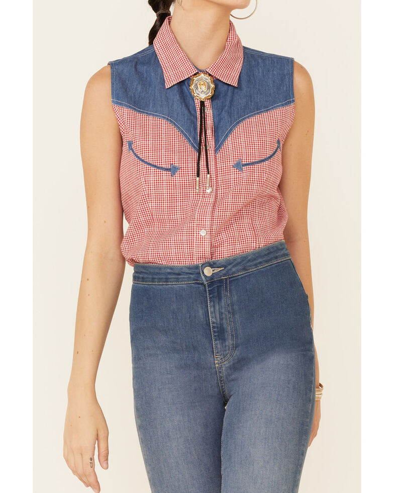 Panhandle Women's Small Gingham Chambray Yoke Sleeveless Snap Western Shirt, Red/white/blue, hi-res