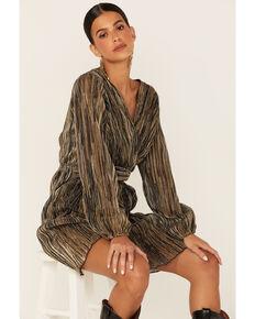 Molly Bracken Women's Gold Pleated Metallic Wrap Dress , Gold, hi-res