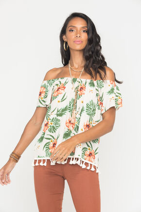 Miss Me Women's Tropical Print Off The Shoulder Top, Khaki, hi-res