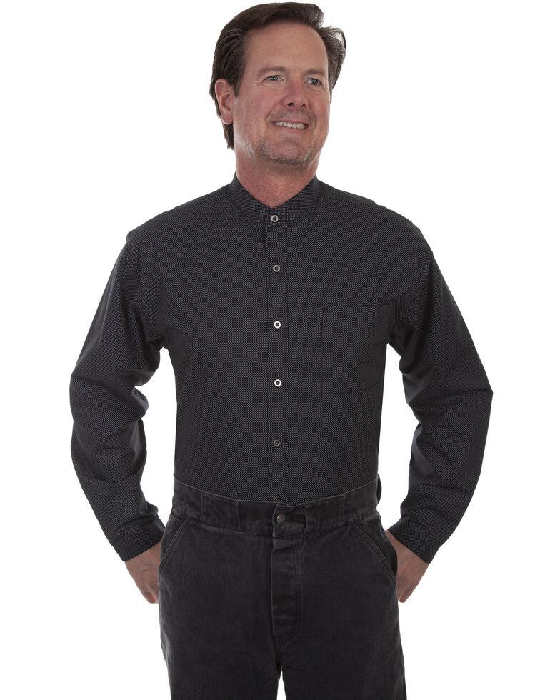 Men's Scully Plaid Band Collar Western Shirt, Black, hi-res