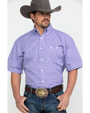 George Strait By Wrangler Men's Purple Small Plaid Short Sleeve Western Shirt , Purple, hi-res