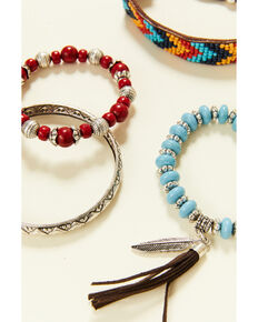 Shyanne Women's Summer Nights Red Aztec Bead Bracelet Set, Red, hi-res
