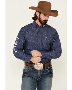 Ariat Men's Team Bartow Dobby Geo Print Long Sleeve Western Shirt - Tall, Blue, hi-res
