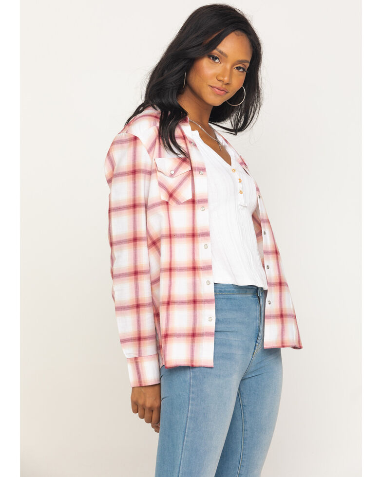 Cotton & Rye Outfitters Women's Rose Plaid Flannel Top, Rose, hi-res