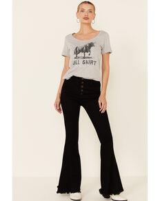 Changes Women's Heather Grey Bull Shirt Graphic Short Sleeve Tee , Heather Grey, hi-res