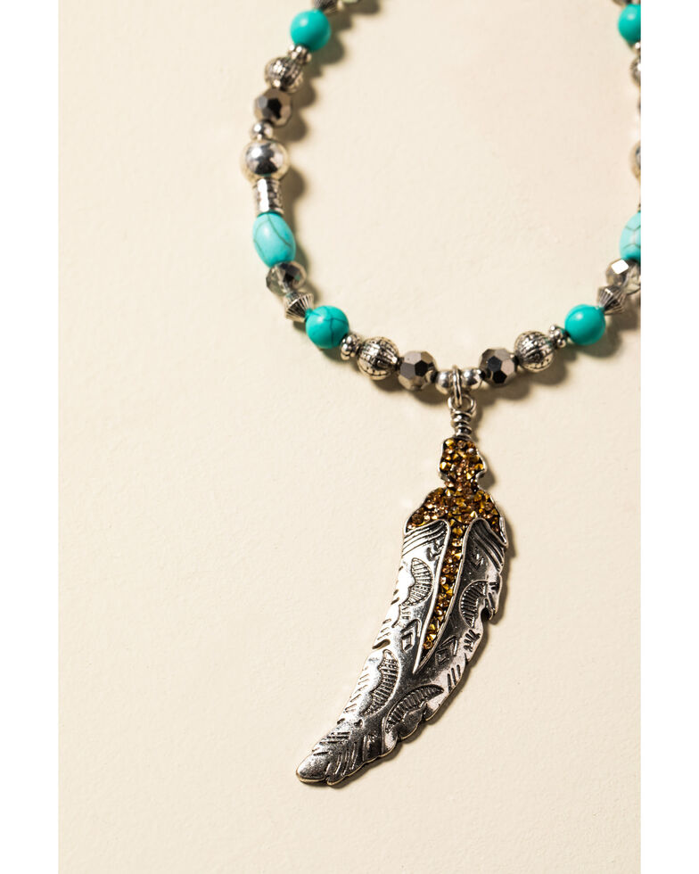 Shyanne Women's In The Oasis Beaded Feather Necklace , Silver, hi-res