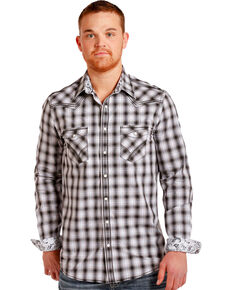 Rough Stock by Panhandle Men's Silver Ombre Plaid Shirt , Silver, hi-res