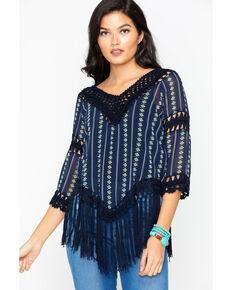 Cowgirl Up Women's Printed Crochet Fringe Top, Black, hi-res