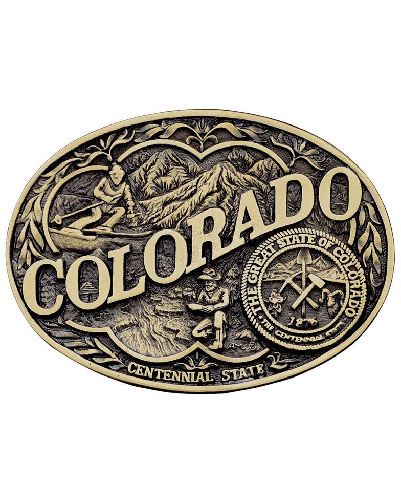 Montana Silversmiths Colorado State Heritage Attitude Belt Buckle, Gold, hi-res