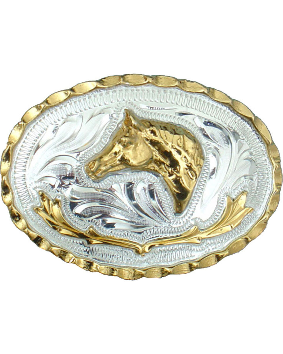 Western Express Men's Silver Small Horsehead German Belt Buckle , Silver, hi-res