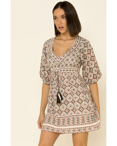 Angie Women's Ivory Aztec Tassel Dress, Ivory, hi-res