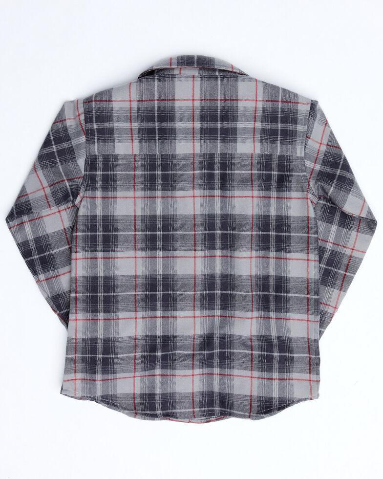 Cowboy Hardware Boys' Grey Plaid Long Sleeve Western Flannel Shirt , Grey, hi-res