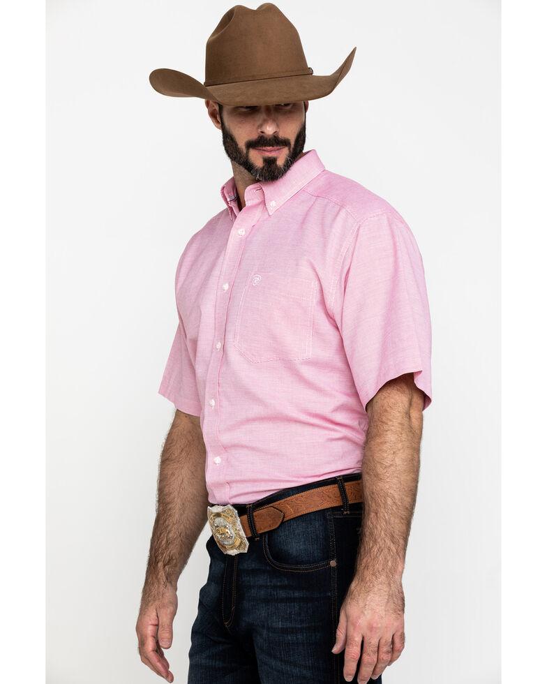 Ariat Men's Keyport Small Geo Print Short Sleeve Western Shirt , Red, hi-res