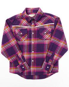 Shyanne Toddler Girls' Dark Purple Plaid Embroidered Yoke Long Sleeve Button-Down Western Shirt , Purple, hi-res