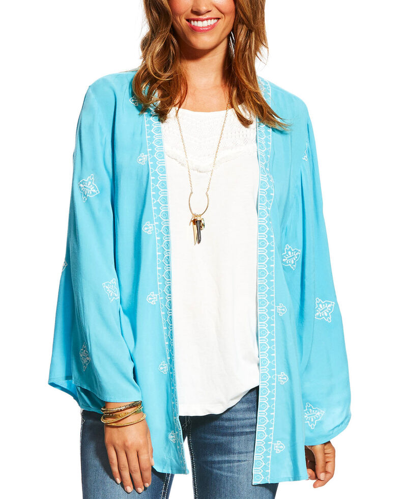 Ariat Women's Blue Misty Embroidered Kimono, Blue, hi-res