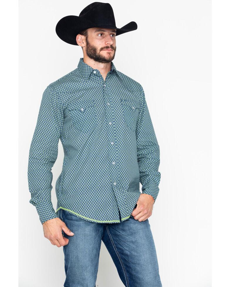 Roper Men's Diamond Geo Print Long Sleeve Shirt , Blue, hi-res