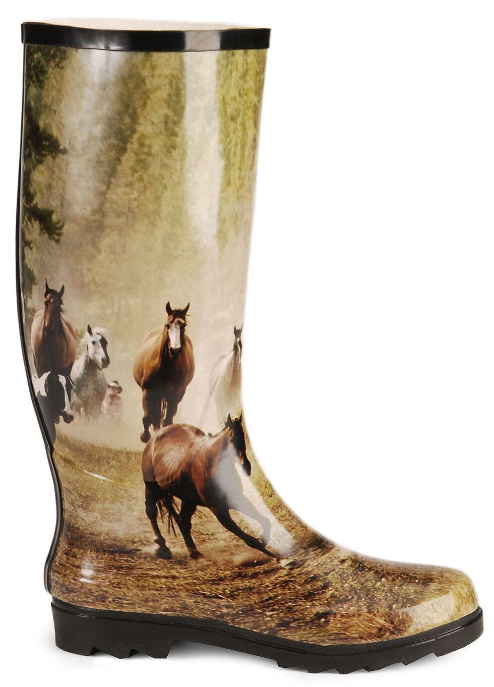 Smoky Mountain Running Horses Tall Rubber Rain Boots - Round Toe, Print, hi-res