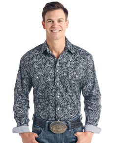 Rough Stock By Panhandle Men's Verano Paisley Print Long Sleeve Western Shirt - Big , Black, hi-res
