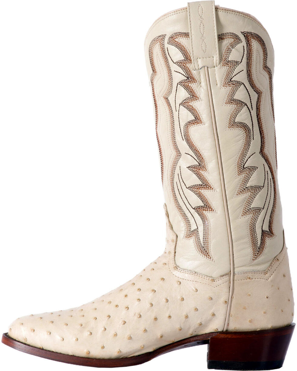 Dan Post Men's White Pershing Full Quill Ostrich Boots - Medium Toe , White, hi-res