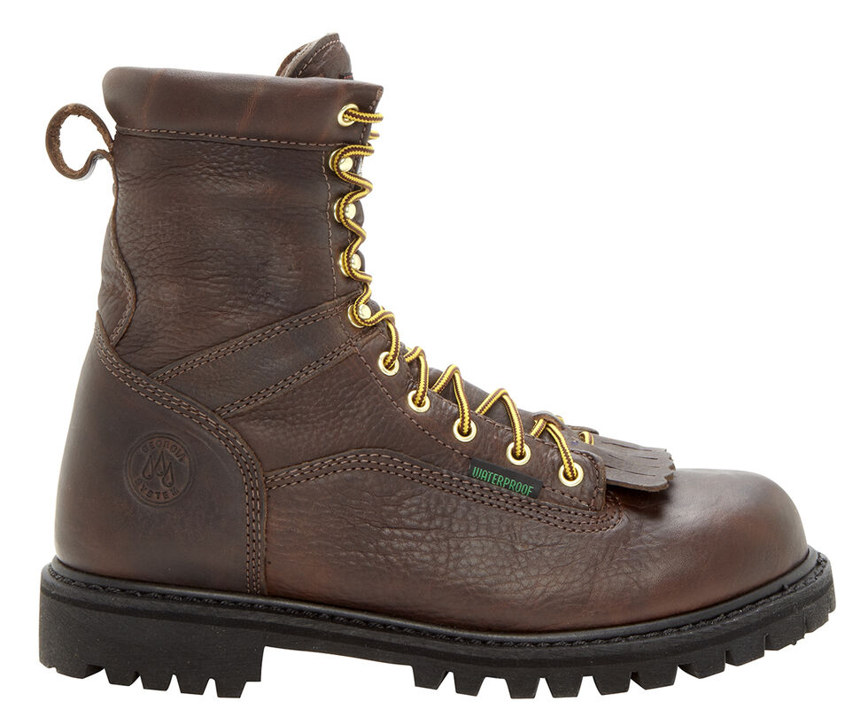 Georgia Waterproof Low Heel Logger Work Boots - Steel Toe, Chocolate, hi-res