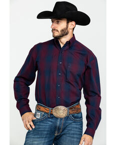 Stetson Men's Satin Ombre Plaid Long Sleeve Western Shirt , Blue, hi-res