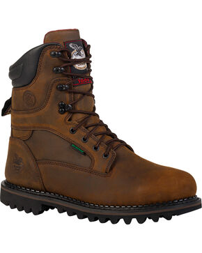 Georgia Men's Arctic Toe Waterproof Insulated Work Boots, Brown, hi-res