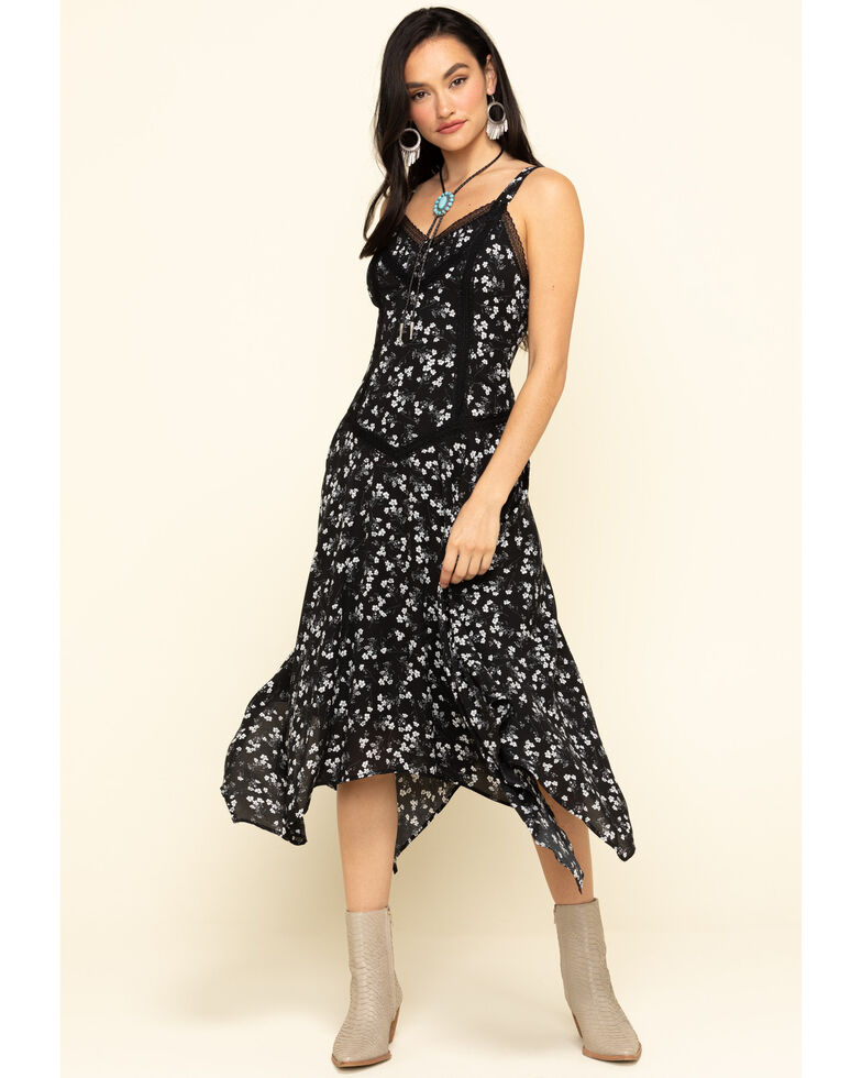 Miss Me Women's Blue Floral Lace Hanky Dress, Black, hi-res