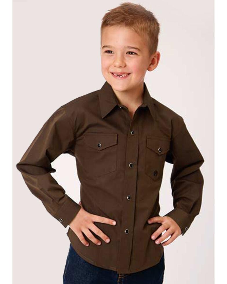 Roper Boys' Amarillo Cedar Brook Solid Long Sleeve Western Shirt , Brown, hi-res