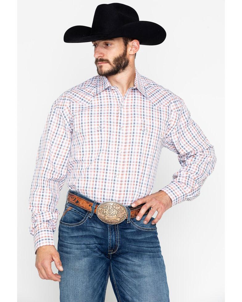 Stetson Men's Small Plaid Snap Long Sleeve Western Shirt , Orange, hi-res