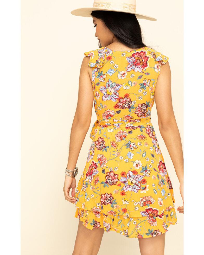 ILLA ILLA Women's Mustard Ruffle Floral Wrap Dress, Mustard, hi-res