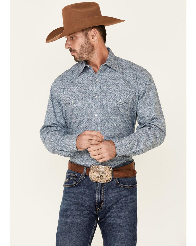 Stetson Men's Medallion Paisley Print Long Sleeve Snap Western Shirt , Blue, hi-res