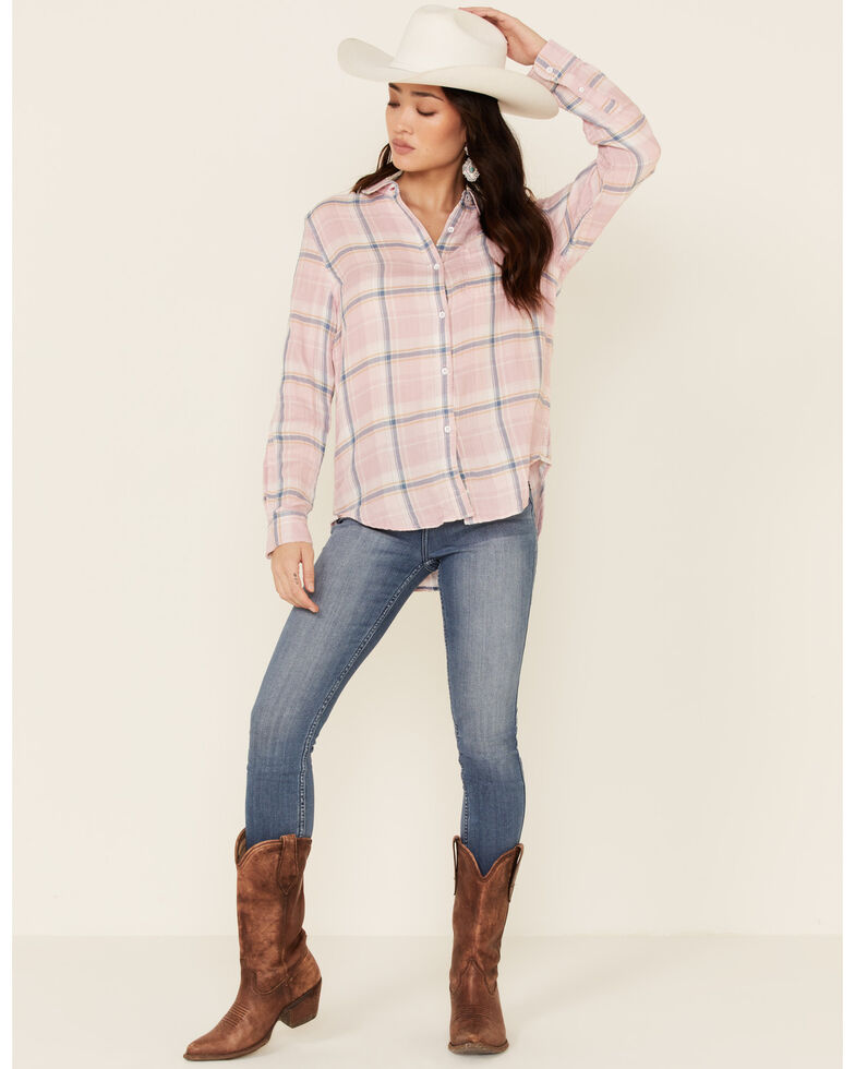 Flag & Anthem Women's Olivia Plaid Long Sleeve Button-Down Western Core Shirt , Pink, hi-res
