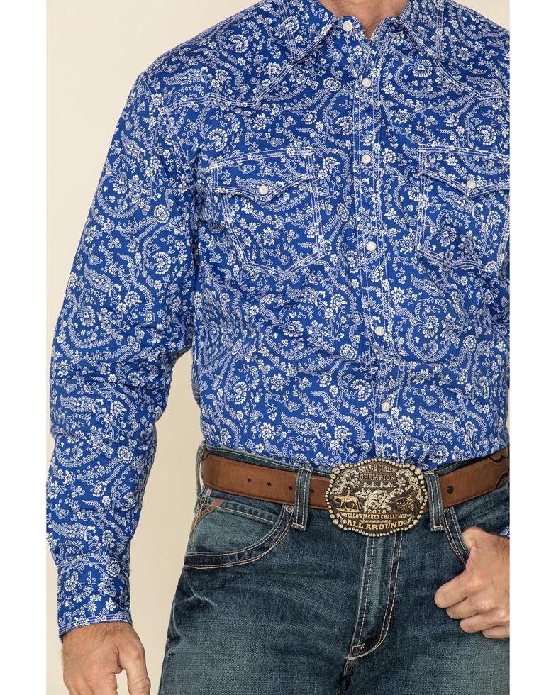 Wrangler 20X Men's Advanced Comfort Blue Floral Print Long Sleeve Western Shirt , Blue, hi-res