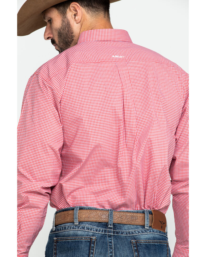 Ariat Men's Grover Small Plaid Long Sleeve Western Shirt - Big , Red, hi-res