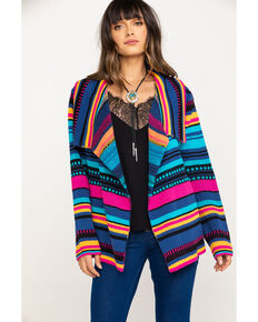 Rock & Roll Cowgirl Women's Serape Stripe Cardigan, Multi, hi-res