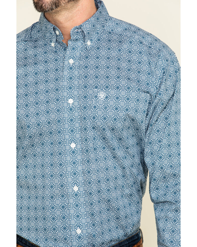 Ariat Men's Rutherford Stretch Geo Print Short Sleeve Western Shirt , Navy, hi-res