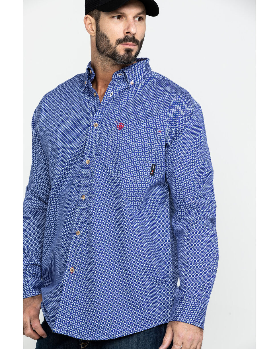 Ariat Men's FR Cobalt Print Liberty Long Sleeve Work Shirt, Blue, hi-res