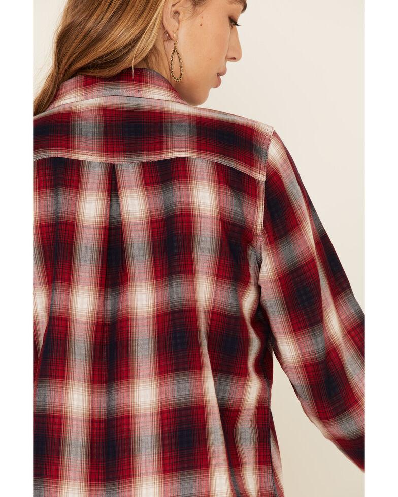 Flag & Anthem Women's Kellysville Double Layer Plaid Long Sleeve Western Shirt, Red, hi-res