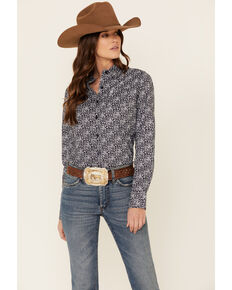 Ariat Women's Navy Kirby Stretch Print Long Sleeve Button-Down Western Shirt , Navy, hi-res