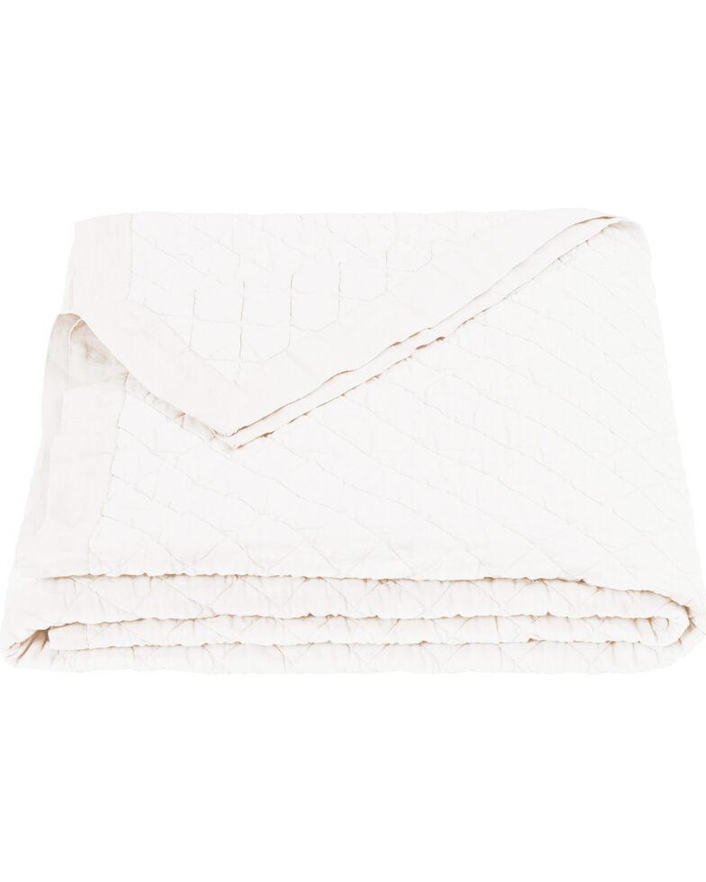 HiEnd Accents Diamond Pattern Vintage White Linen Twin Quilt, White, hi-res