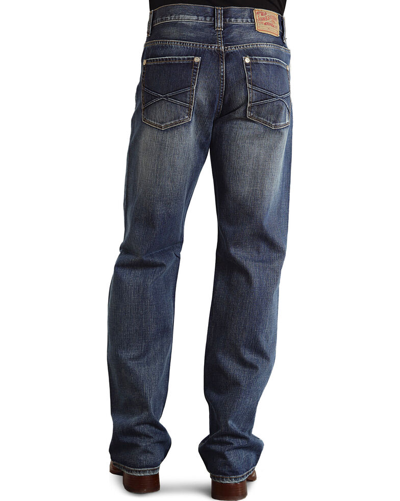 """Stetson Modern Fit Embossed """"X"""" Stitched Jeans - Big & Tall, Med Wash, hi-res"""