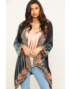Johnny Was Women's Maeve Velvet Drape Cardigan, Charcoal, hi-res