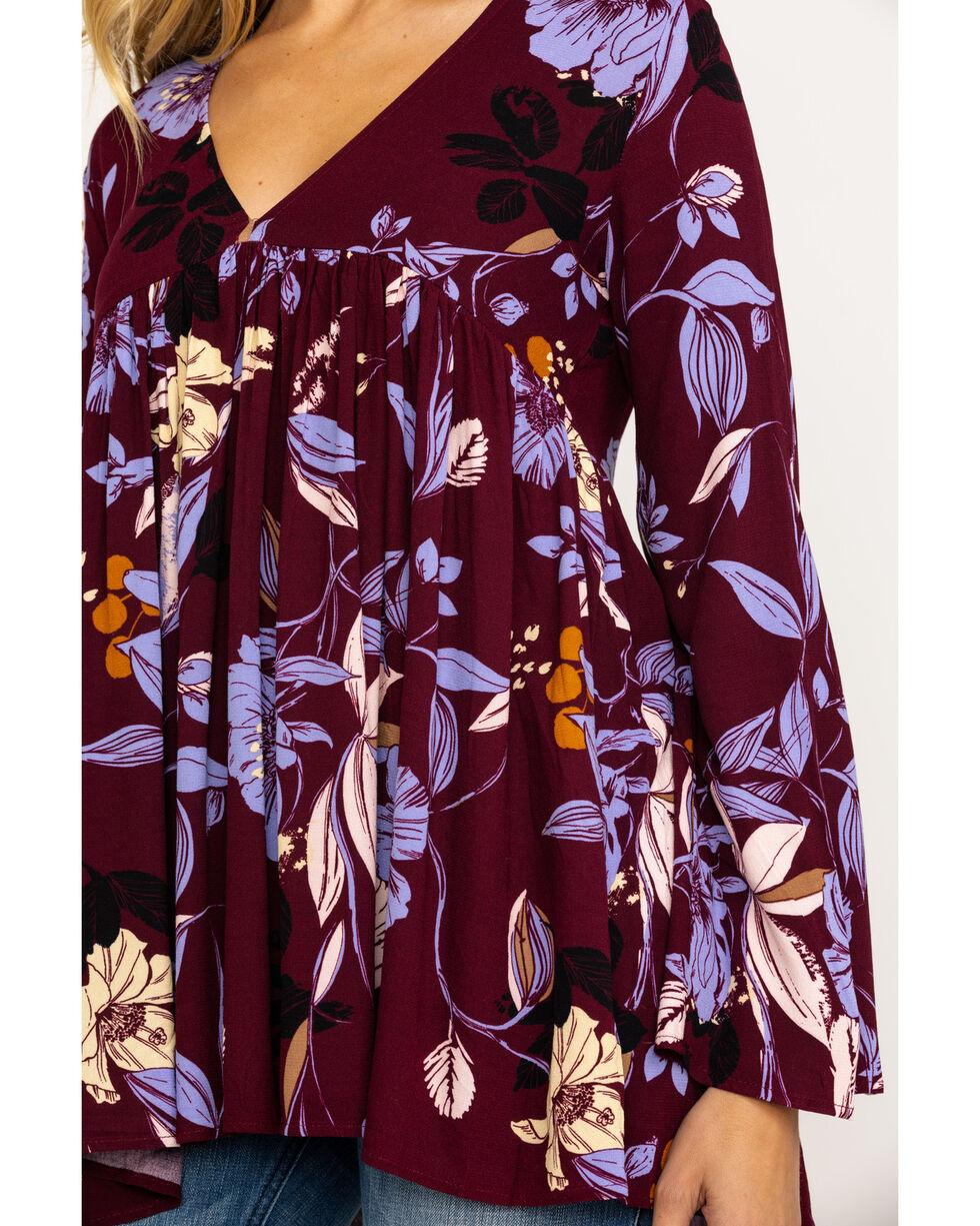 Free People Women's Bella Printed Tunic, Wine, hi-res