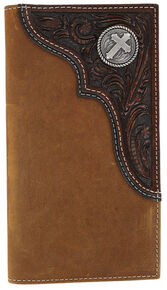 Cody James Men's Tooled Cross Checkbook Cover/Wallet, Brown, hi-res