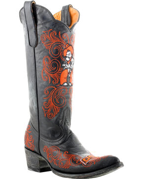 Gameday Oklahoma State University Cowgirl Boots - Pointed Toe, Black, hi-res