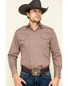 Ely Cattleman Men's Navy/Khaki Geo Print Long Sleeve Western Shirt , Beige/khaki, hi-res