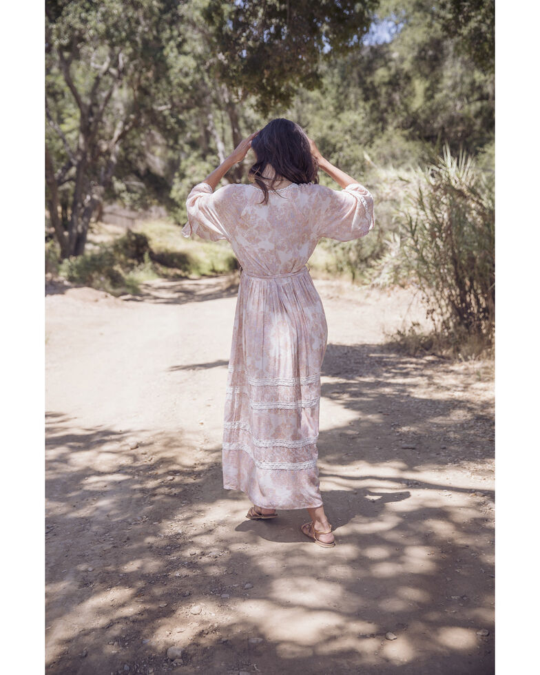 A Collective Story Women's Peach Printed Bell Sleeve Maxi Dress, Peach, hi-res