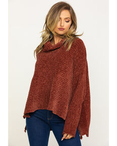 Angie Women's Chenille Cowl Pullover Sweater, Rust Copper, hi-res
