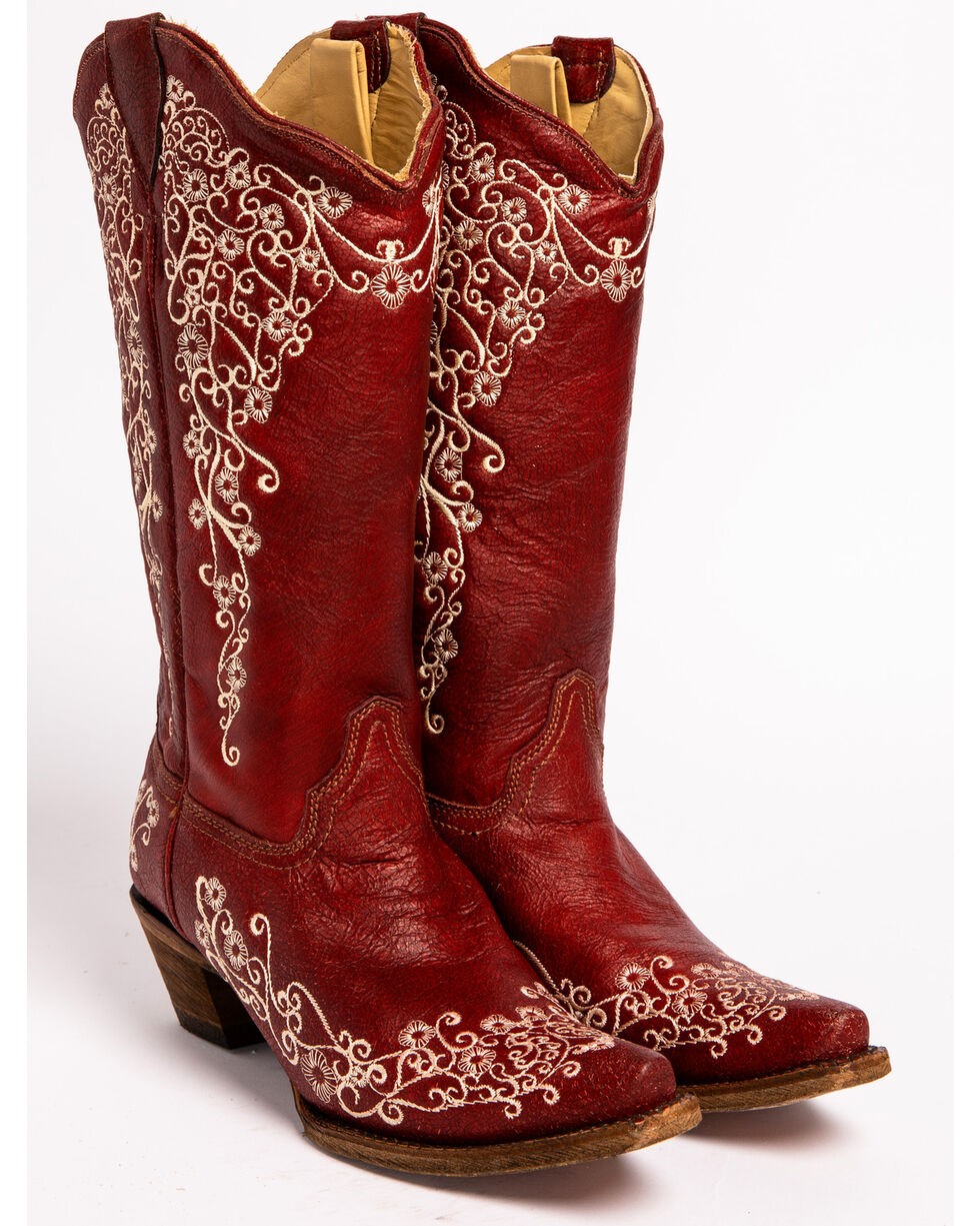 Corral Women's Red Embroidery Boots - Snip Toe , Red, hi-res